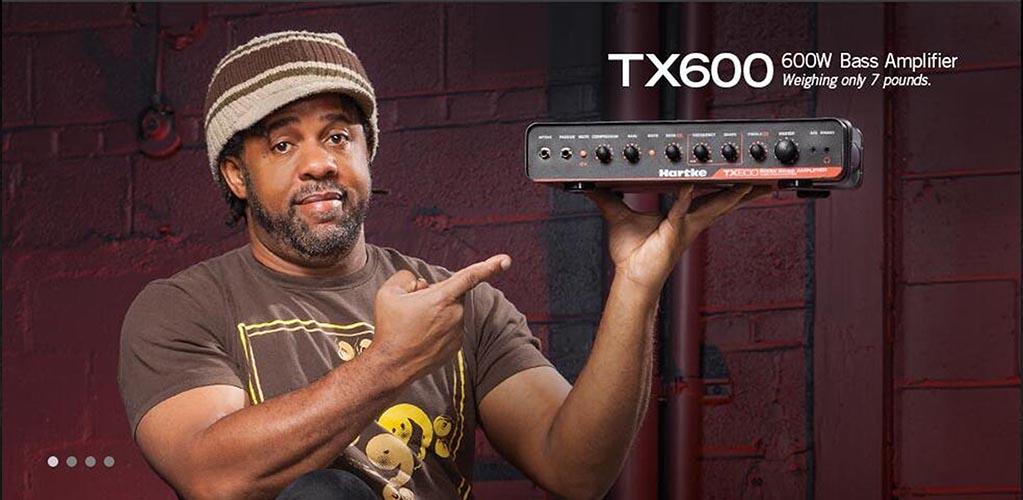 Hartke TX600 质轻高度便携,功率600W,是D类的贝斯箱头,拥有Hartke传奇的电子管前级放大电路的音色!坚韧却紧凑的外壳,TX600有一个机载的压缩器与独特音色控制的EQ模块,能带来各种风格流派乐手所需要的各种音色。